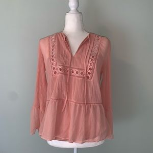 Express Peach embroidered peasant blouse #3208